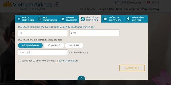 Hướng dẫn Check in trực tuyến và chọn chỗ ngồi hãng Vietnam Airlines