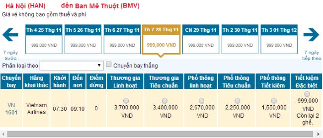 Bảng giá vé máy bay từ Hà Nội đi Buôn Ma Thuột