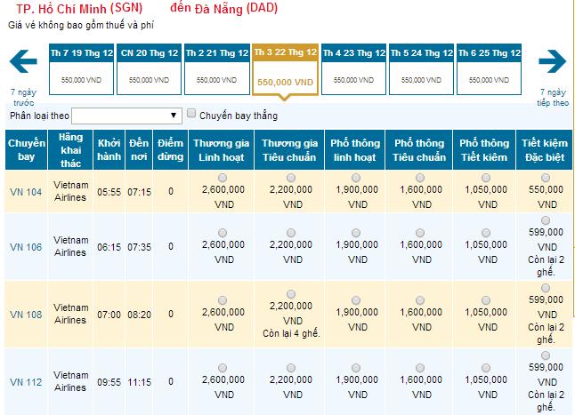 Bảng giá vé máy bay từ TP.HCM đi Đà Nẵng