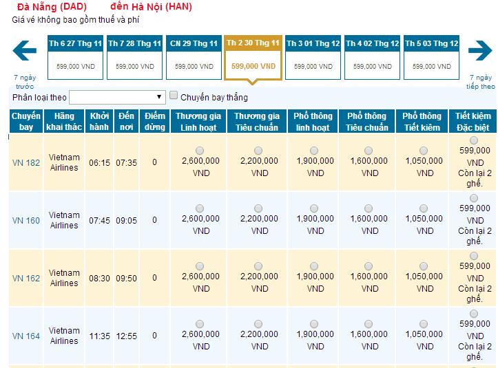 Bảng giá vé máy bay từ Đà Nẵng đi Hà Nội