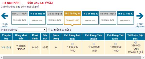 Bảng giá vé máy bay từ Hà Nội đi Chu Lai hãng Vietnam Airlines