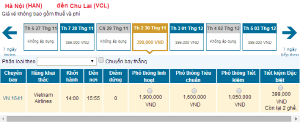 Vé máy bay từ Hà Nội đi Chu Laihãng Vietnam Airlines, tháng 12/2015: