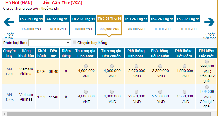 Mua vé máy bay đi Cần Thơ hãng Vietnam Airlines