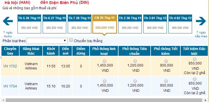 Bảng giá vé máy bay từ Hà Nội đi Điện Biên Phủ