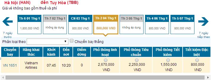 Bảng giá vé máy bay từ Hà Nội đi Tuy Hòa hãng Vietnam Airlines