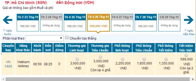 Bảng giá vé máy bay từ Sài Gòn đi Đồng Hới