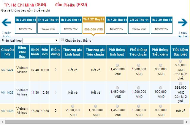 Bảng giá vé máy bay từ TP.HCM đi Pleiku