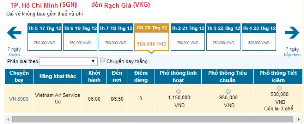 Bảng giá vé máy bay từ TP.HCM đi Rạch Giá