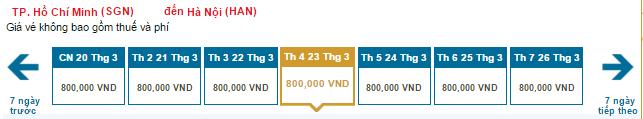 Bảng giá vé máy bay đi Hà Nội giá rẻ hãng Vietnam Airlines: