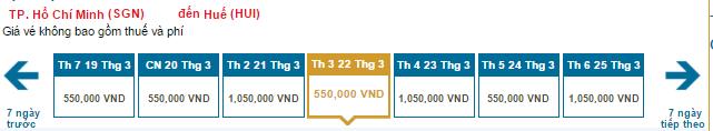 Bảng giá vé máy bay đi Huế hãng Vietnam Airlines khai thác: