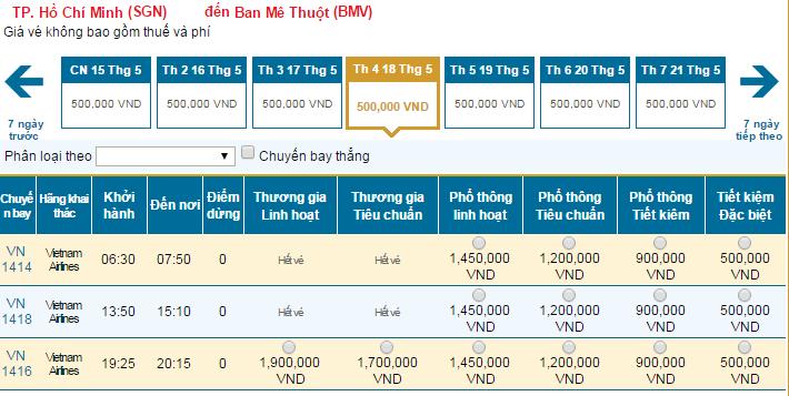 Bảng giá vé máy bay đi Buôn Ma Thuộtdohãng Vietnam Airlines khai thác