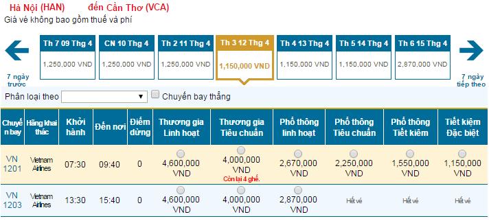 Thông tin vé máy bay đi Cần Thơ hãng Vietnam Airlines mới nhất