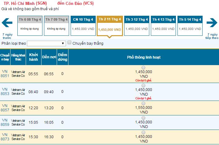 Thông tin vé máy bay Vietnam Airlines đi Côn Đảo mới nhất