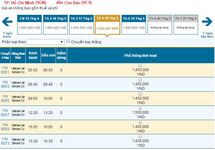 Giá vé máy bay giá rẻ Vietnam Airlines chỉ từ 1.450.000 đồng đi Côn Đảo
