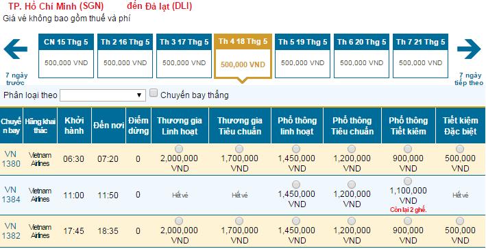 Bảng giá vé máy bay đi Đà Lạt hãng Vietnam Airlines khai thác