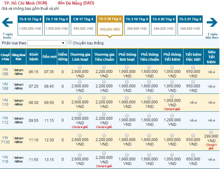 Bảng giá vé máy bay đi Đà Nẵng hãng Vietnam Airlines khai thác