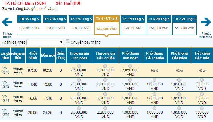 Bảng giá vé máy bay đi Huếdohãng Vietnam Airlines khai thác