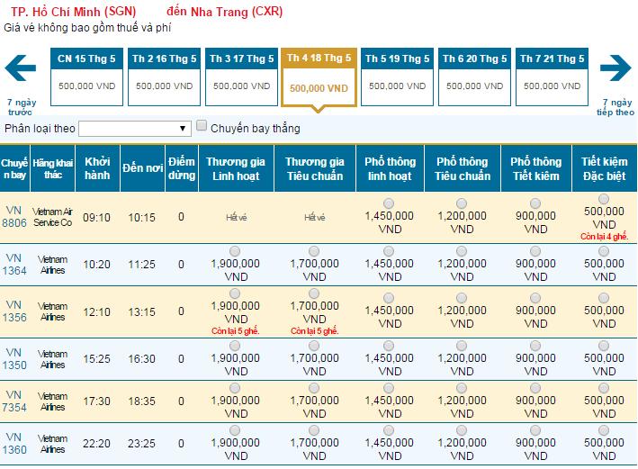Bảng giá vé máy bay đi Nha Trang hãng Vietnam Airlines khai thác