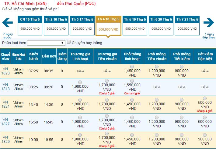 Bảng giá vé máy bay đi Phú Quốcdohãng Vietnam Airlines khai thác