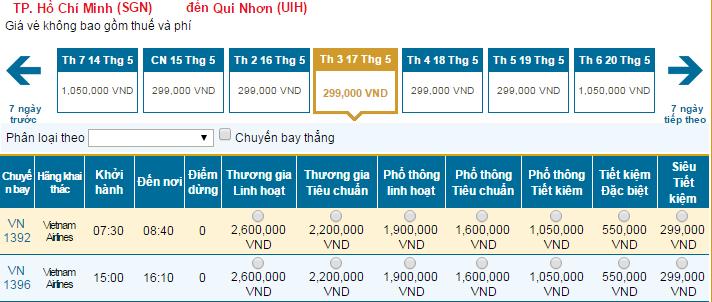 Thông tin vé máy bay đi Tuy Hòa Vietnam Airlines mới nhất