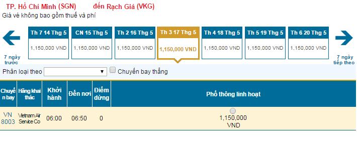 Mua vé máy bay giá rẻ đi Rạch Giá Vietnam Airlines trong tháng 05/2016