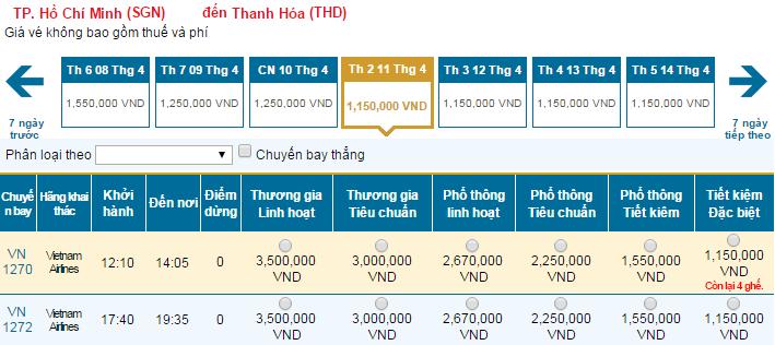 Bảng giá vé máy bay đi Thanh Hóa Vietnam Airlines khai thác