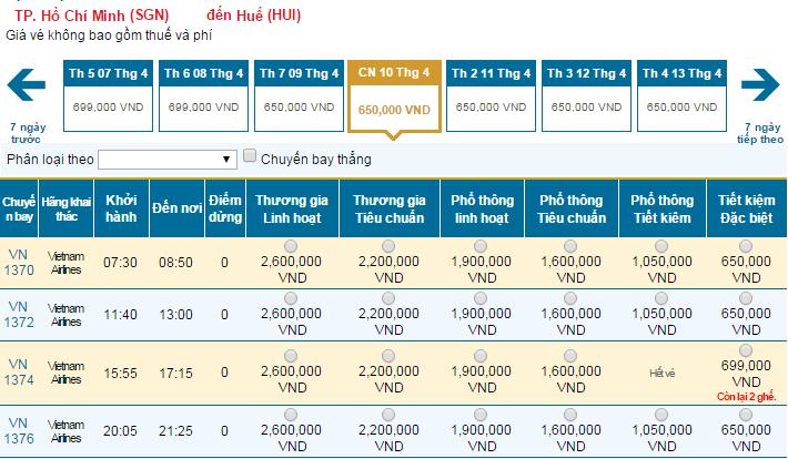 Thông tin vé máy bay Vietnam Airlines đi Huế mới nhất
