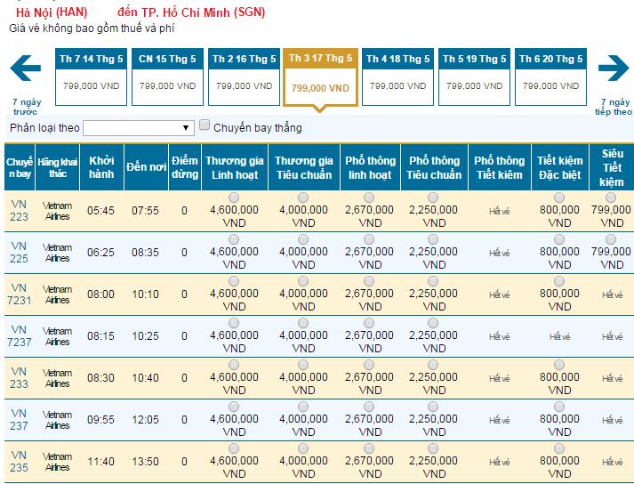 Bảng giá vé máy bay đi TPHCM tháng 05 hãng Vietnam Airlines