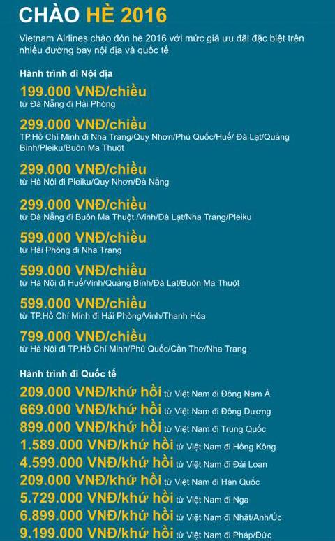 Vé máy bay Vietnam Airlines khuyến mãi giá rẻ