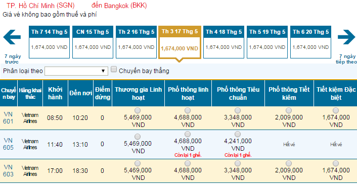 Bảng giá vé máy bay đi Bangkok dohãng Vietnam Airlines khai thác