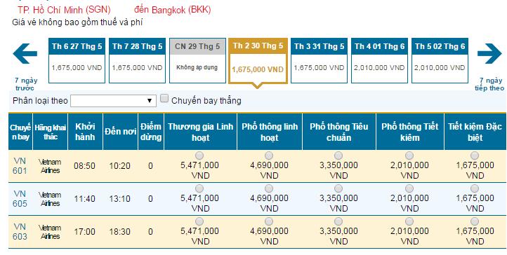 Bảng giá vé máy bay đi Bangkok hãng Vietnam Airlines khai thác