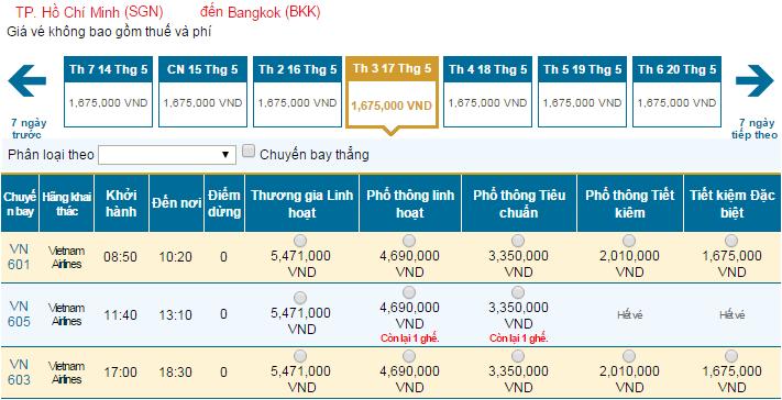 Mua vé máy bay giá rẻ đi Bangkok hãng Vietnam Airlines tháng 5/2016