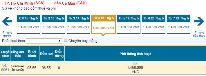 Bảng giá vé máy bay đi Cà Mau hãng Vietnam Airlines khai thác