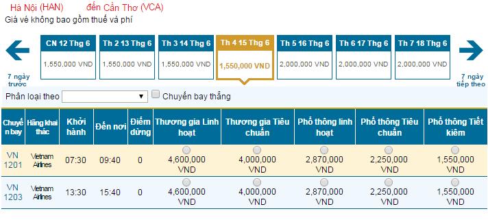 Bảng giá vé máy bay đi Cần Thơ hãng Vietnam Airlines khai thác