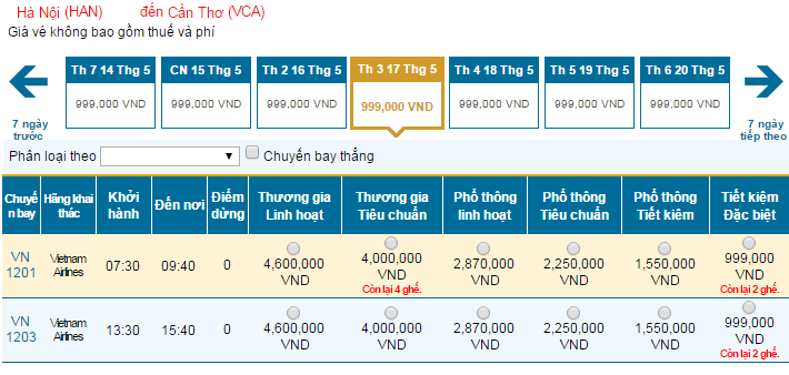 Bảng giá vé máy bay đi Cần Thơ cập nhật mới nhất hãng Vietnam Airlines