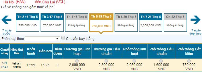 Bảng giá vé máy bay đi Chu Lai hãng Vietnam Airlines khai thác