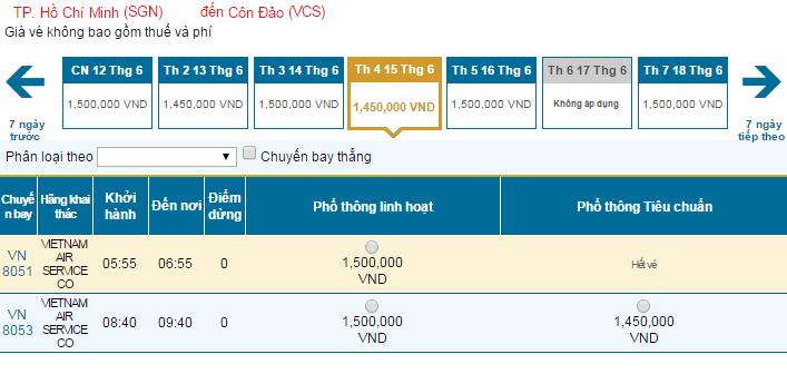 Bảng giá vé máy bay đi Côn Đảo hãng Vietnam Airlines khai thác