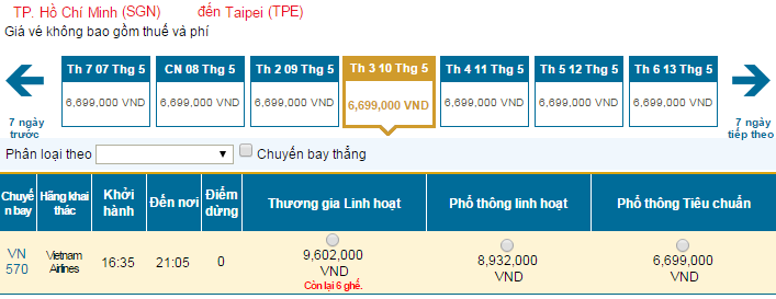 Bảng giá vé máy bay đi Đài Loan Vietnam Airlines cập nhật mới nhất