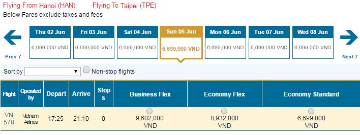 Bảng giá vé máy bay đi Đài Loan hãng Vietnam Airlines khai thác