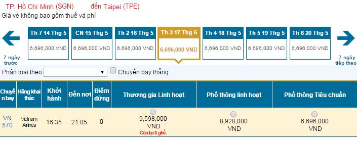 Bảng giá vé máy bay đi Đài Loandohãng Vietnam Airlines khai thác