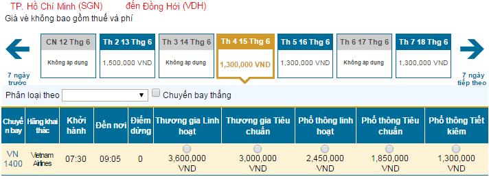 Bảng giá vé máy bay đi Đồng Hới hãng Vietnam Airlines khai thác