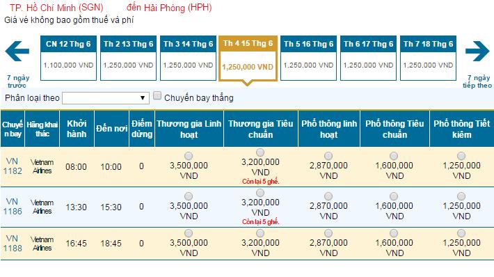 Bảng giá vé máy bay đi Hải Phòng hãng Vietnam Airlines khai thác