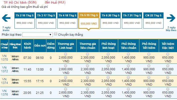 Bảng giá vé máy bay đi HuếVietnam Airlines khai thác