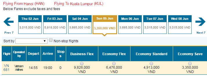Bảng giá vé máy bay đi Kuala Lumpur hãng Vietnam Airlines khai thác