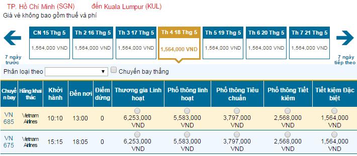 Mua vé máy bay giá rẻ đi Kuala Lumpur Vietnam Airlines tháng 5/2016