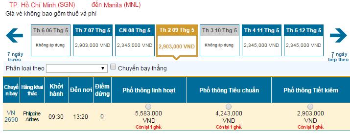 Bảng giá vé máy bay đi Philippines hãng Vietnam Airlines