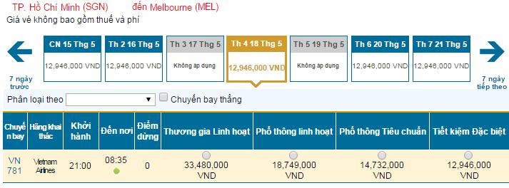 Bảng giá vé máy bay đi Melbourne hãng Vietnam Airlines khai thác