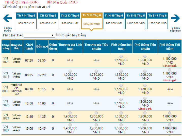 Bảng giá vé máy bay đi Phú Quốc hãng Vietnam Airlines khai thác