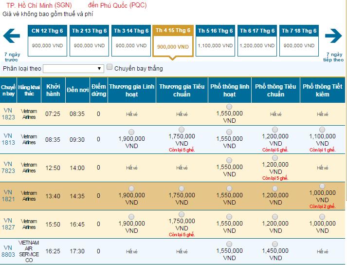 Bảng giá vé máy bay đi Pleiku hãng Vietnam Airlines khai thác