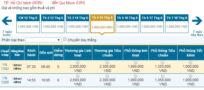 Bảng giá vé máy bay đi Quy Nhơn hãng Vietnam Airlines khai thác